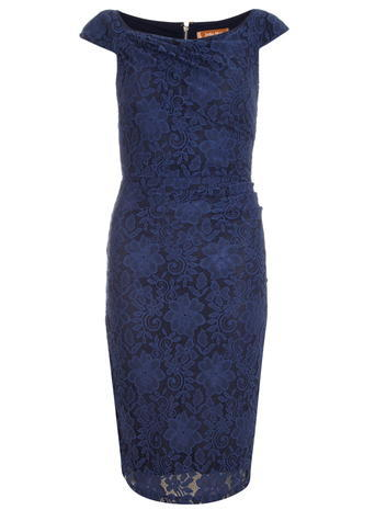 Womens **Jolie Moi Navy Lace Ruched Dress Blue - style: shift; length: below the knee; neckline: round neck; sleeve style: capped; fit: tight; predominant colour: navy; occasions: occasion; sleeve length: short sleeve; texture group: lace; pattern type: fabric; pattern: patterned/print; season: a/w 2015; wardrobe: event