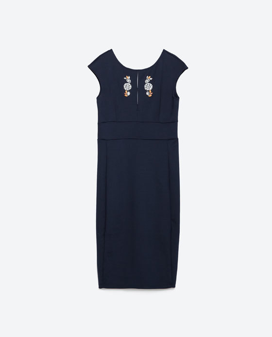 Dress With Jewelled Neckline - style: shift; neckline: round neck; sleeve style: capped; fit: tailored/fitted; pattern: plain; predominant colour: navy; occasions: evening, occasion; length: on the knee; fibres: polyester/polyamide - 100%; sleeve length: short sleeve; texture group: crepes; pattern type: fabric; embellishment: jewels/stone; season: a/w 2015; wardrobe: event; embellishment location: bust