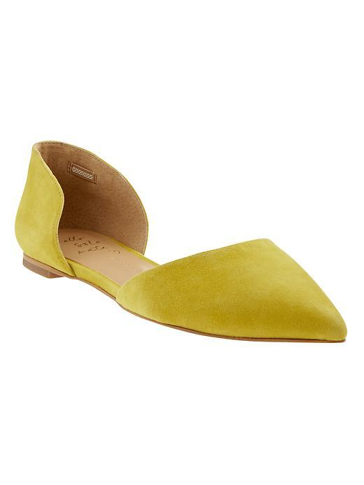 Aiden D'orsay Flat Yellow - predominant colour: yellow; occasions: casual, creative work; material: suede; heel height: flat; toe: pointed toe; style: ballerinas / pumps; finish: plain; pattern: plain; season: a/w 2015; wardrobe: highlight