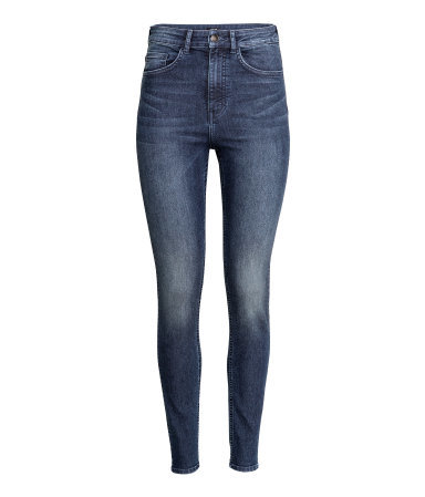 Trousers High Waist - style: skinny leg; length: standard; pattern: plain; waist: high rise; pocket detail: traditional 5 pocket; predominant colour: denim; occasions: casual; fibres: cotton - stretch; jeans detail: whiskering, dark wash; texture group: denim; pattern type: fabric; season: a/w 2015; wardrobe: basic