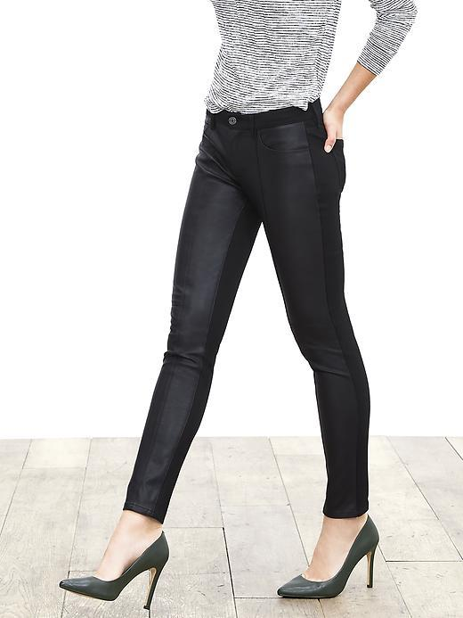 Sloan Fit Faux Leather Front Skinny Ankle Pant Black - length: standard; pattern: plain; pocket detail: traditional 5 pocket; waist: mid/regular rise; predominant colour: black; occasions: casual, evening, creative work; fibres: viscose/rayon - stretch; texture group: leather; fit: skinny/tight leg; pattern type: fabric; style: standard; season: a/w 2015; wardrobe: highlight