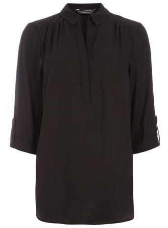 Womens **Tall Black Rollsleeve Shirt Black - neckline: shirt collar/peter pan/zip with opening; pattern: plain; style: shirt; predominant colour: black; occasions: casual; length: standard; fibres: polyester/polyamide - 100%; fit: body skimming; sleeve length: 3/4 length; sleeve style: standard; texture group: cotton feel fabrics; pattern type: fabric; season: a/w 2015