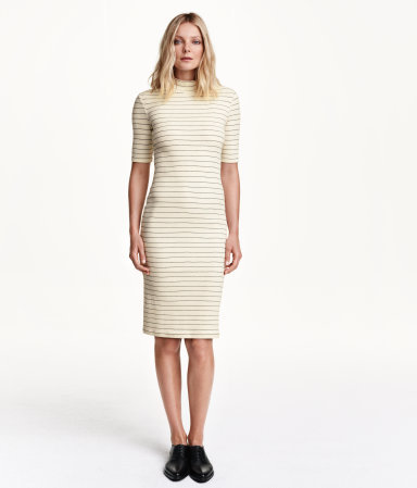 Striped Dress - style: shift; pattern: horizontal stripes; predominant colour: ivory/cream; secondary colour: light grey; occasions: casual, creative work; length: on the knee; fit: body skimming; neckline: crew; sleeve length: half sleeve; sleeve style: standard; pattern size: standard; texture group: jersey - stretchy/drapey; season: a/w 2015