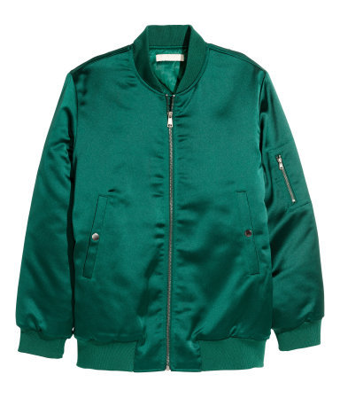 Padded Bomber Jacket - pattern: plain; collar: round collar/collarless; style: bomber; predominant colour: emerald green; occasions: casual, evening, creative work; length: standard; fit: straight cut (boxy); hip detail: subtle/flattering hip detail; sleeve length: long sleeve; sleeve style: standard; texture group: structured shiny - satin/tafetta/silk etc.; collar break: high; pattern type: fabric; season: a/w 2015; wardrobe: highlight