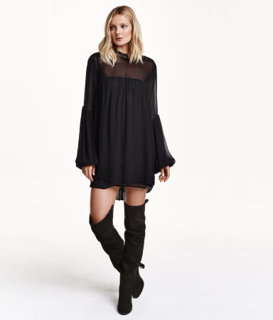 Wide Chiffon Dress - style: tunic; length: mid thigh; sleeve style: bell sleeve; fit: loose; pattern: plain; predominant colour: black; occasions: casual, evening; fibres: polyester/polyamide - 100%; neckline: crew; sleeve length: long sleeve; texture group: sheer fabrics/chiffon/organza etc.; pattern type: fabric; shoulder detail: sheer at shoulder; season: a/w 2015; wardrobe: highlight; embellishment: contrast fabric; embellishment location: shoulder