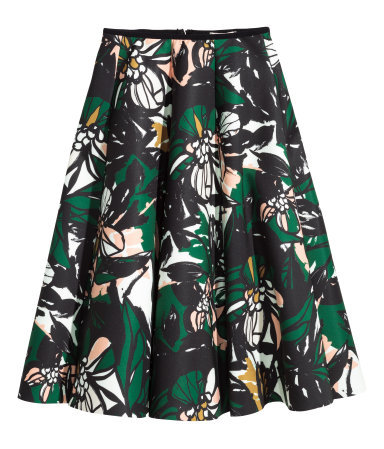 Patterned Scuba Skirt - style: full/prom skirt; fit: loose/voluminous; waist: high rise; predominant colour: dark green; occasions: casual, occasion, creative work; length: just above the knee; hip detail: soft pleats at hip/draping at hip/flared at hip; pattern type: fabric; pattern: patterned/print; texture group: other - light to midweight; pattern size: standard (bottom); season: a/w 2015; wardrobe: highlight
