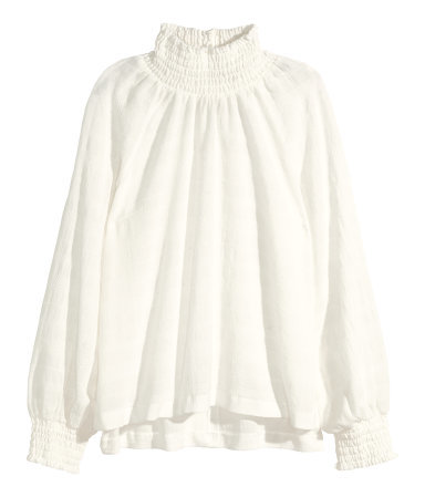Blouse With Smocking - pattern: plain; neckline: high neck; style: blouse; predominant colour: ivory/cream; occasions: casual, creative work; length: standard; fit: loose; sleeve length: long sleeve; sleeve style: standard; texture group: cotton feel fabrics; pattern type: fabric; season: a/w 2015; trends: folky 70s