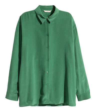 Silk Shirt - neckline: shirt collar/peter pan/zip with opening; pattern: plain; style: shirt; predominant colour: emerald green; occasions: casual, work, creative work; length: standard; fibres: silk - 100%; fit: loose; sleeve length: long sleeve; sleeve style: standard; texture group: silky - light; pattern type: fabric; season: a/w 2015; wardrobe: highlight