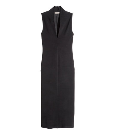 Long Dress - length: below the knee; neckline: low v-neck; pattern: plain; sleeve style: sleeveless; style: bodycon; predominant colour: black; occasions: evening, creative work; fit: straight cut; sleeve length: sleeveless; pattern type: fabric; texture group: woven light midweight; season: a/w 2015; wardrobe: investment