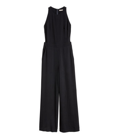 Sleeveless Jumpsuit - length: standard; neckline: round neck; pattern: plain; sleeve style: sleeveless; predominant colour: black; occasions: evening, occasion; fit: fitted at waist & bust; sleeve length: sleeveless; style: jumpsuit; pattern type: fabric; texture group: woven light midweight; season: a/w 2015; wardrobe: event