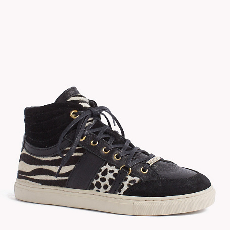 Tina Sneaker - secondary colour: white; predominant colour: black; occasions: casual; material: suede; heel height: flat; toe: round toe; style: trainers; finish: plain; pattern: animal print; shoe detail: moulded soul; season: a/w 2015; wardrobe: highlight