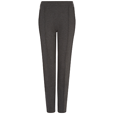 Ponte Slim Leg Trousers, Charcoal - length: standard; pattern: plain; waist: mid/regular rise; predominant colour: charcoal; occasions: work, creative work; fibres: viscose/rayon - stretch; fit: slim leg; pattern type: fabric; texture group: woven light midweight; style: standard; season: a/w 2015