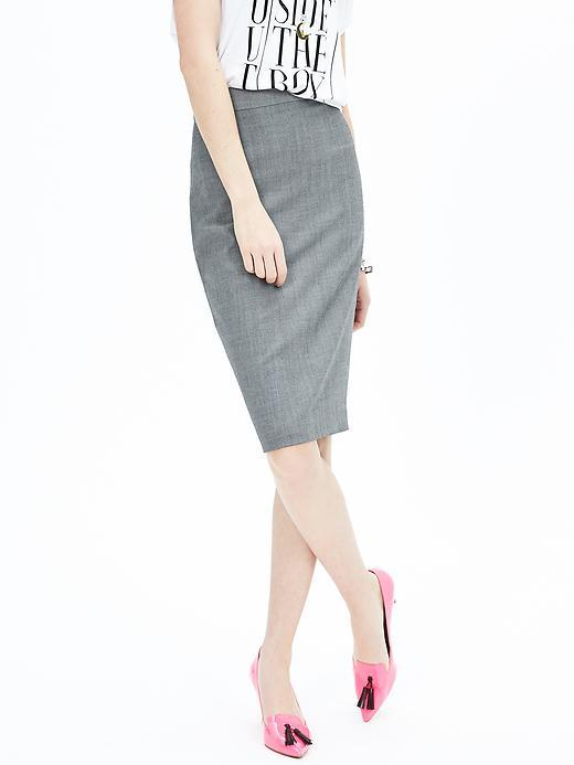 Gray Lightweight Wool Pencil Skirt Light Gray - style: pencil; fit: tailored/fitted; waist: high rise; predominant colour: mid grey; occasions: work, creative work; length: on the knee; fibres: wool - stretch; pattern type: fabric; texture group: woven light midweight; pattern: marl; season: a/w 2015; wardrobe: basic