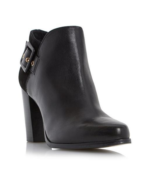 Oaklee Side Buckle Block Heel Ankle Boot - predominant colour: black; occasions: casual, creative work; material: leather; heel height: high; embellishment: buckles; heel: block; toe: round toe; boot length: ankle boot; style: standard; finish: plain; pattern: plain; season: a/w 2015