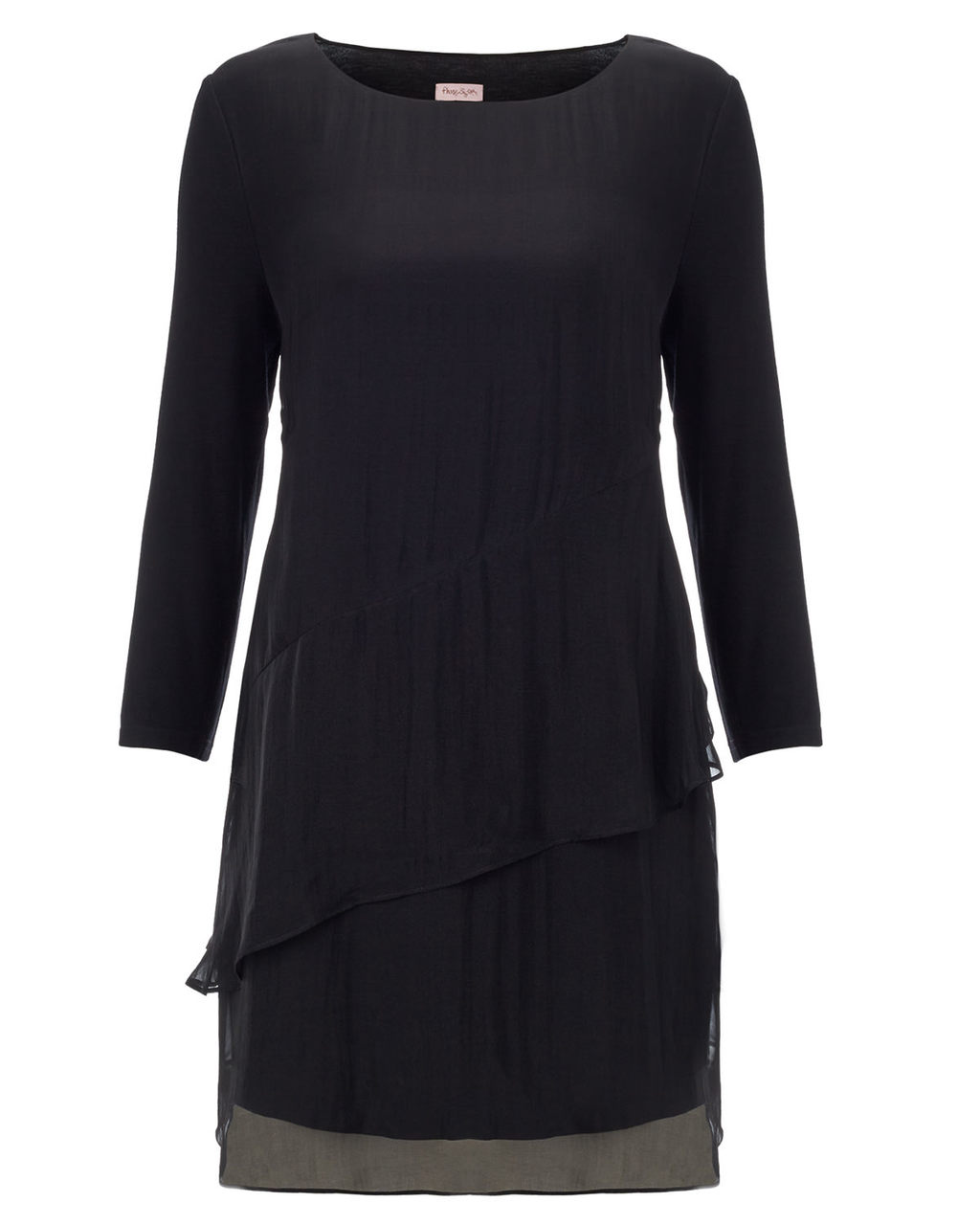 Jesinta Silk Tunic - pattern: plain; length: below the bottom; style: tunic; predominant colour: black; occasions: evening; fibres: silk - 100%; fit: body skimming; neckline: crew; hip detail: subtle/flattering hip detail; sleeve length: long sleeve; sleeve style: standard; pattern type: fabric; texture group: jersey - stretchy/drapey; season: a/w 2015; wardrobe: event