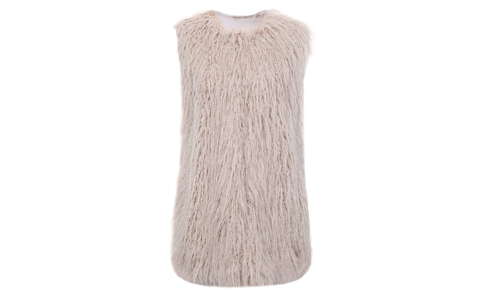 Fur Gilet - pattern: plain; sleeve style: sleeveless; style: gilet; collar: round collar/collarless; length: below the bottom; predominant colour: blush; occasions: casual, creative work; fit: straight cut (boxy); fibres: acrylic - mix; sleeve length: sleeveless; texture group: fur; collar break: high; pattern type: fabric; embellishment: fur; season: a/w 2015; wardrobe: highlight