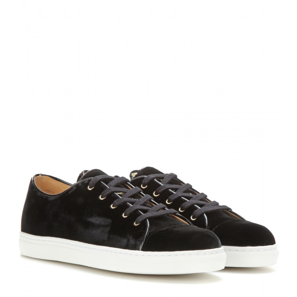 Purrrfect Velvet Sneakers - predominant colour: black; occasions: casual, creative work, activity; material: fabric; heel height: flat; toe: round toe; style: trainers; finish: plain; pattern: plain; shoe detail: moulded soul; season: a/w 2015
