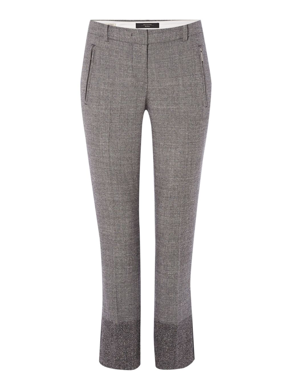 Scacco Cropped Check Trouser, Black - pattern: checked/gingham; pocket detail: pockets at the sides; waist: mid/regular rise; predominant colour: mid grey; occasions: casual, work, creative work; length: ankle length; fibres: wool - stretch; waist detail: narrow waistband; fit: slim leg; pattern type: fabric; texture group: woven light midweight; style: standard; pattern size: standard (bottom); season: a/w 2015