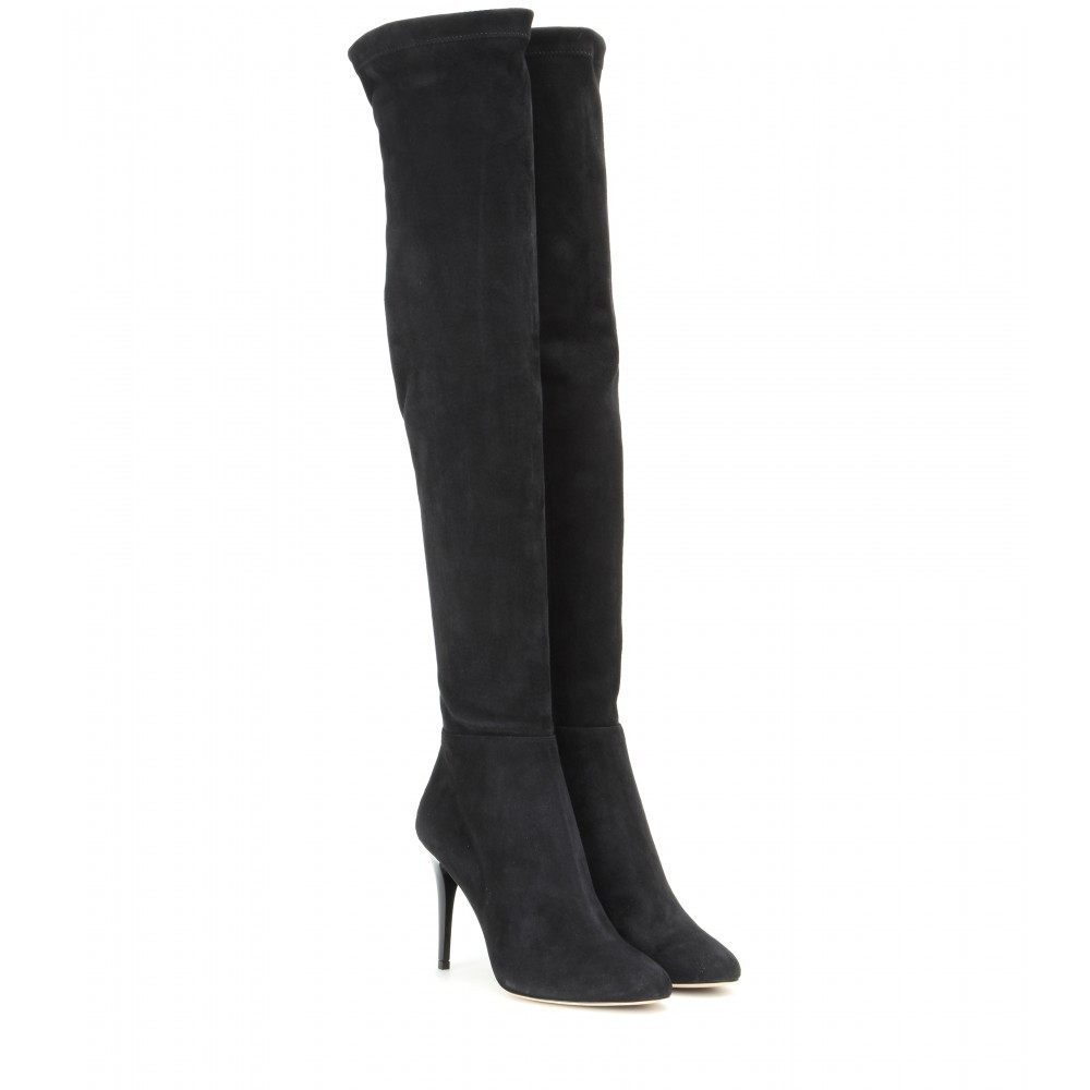 Toni Suede Over The Knee Boots - predominant colour: black; material: suede; heel height: high; heel: stiletto; toe: pointed toe; boot length: over the knee; style: standard; finish: plain; pattern: plain; occasions: creative work; season: a/w 2015; wardrobe: investment