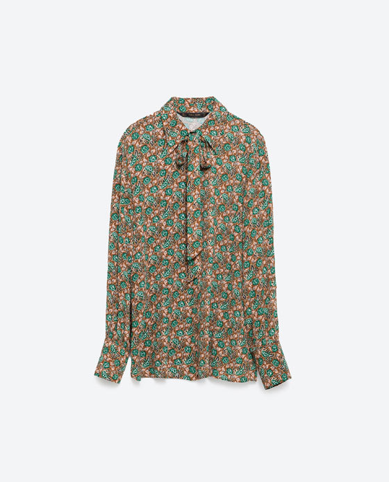 Printed Shirt - style: shirt; neckline: pussy bow; secondary colour: emerald green; predominant colour: tan; occasions: casual, creative work; length: standard; fibres: viscose/rayon - 100%; fit: body skimming; sleeve length: long sleeve; sleeve style: standard; pattern type: fabric; pattern size: standard; pattern: florals; texture group: woven light midweight; multicoloured: multicoloured; season: a/w 2015; trends: folky 70s; wardrobe: highlight