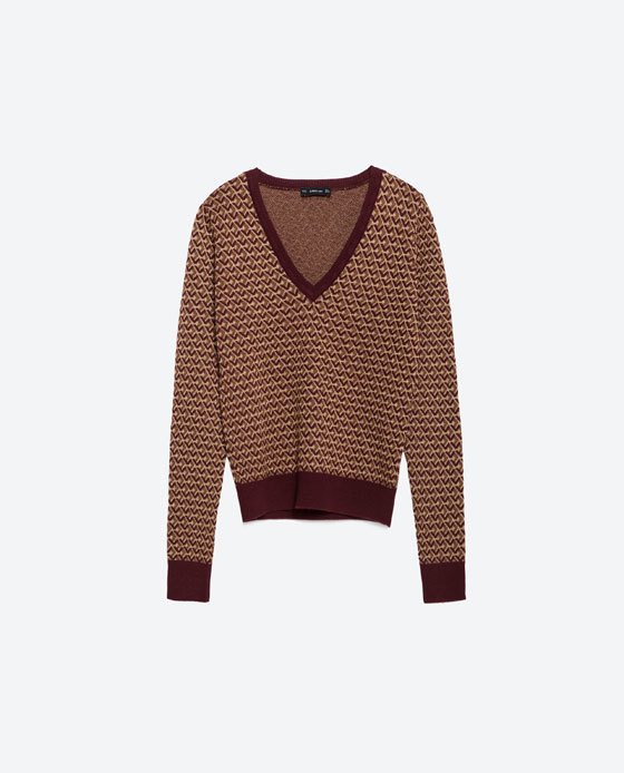 Micro Jacquard Sweater - neckline: low v-neck; style: standard; predominant colour: burgundy; secondary colour: camel; occasions: casual; length: standard; fibres: acrylic - mix; fit: standard fit; sleeve length: long sleeve; sleeve style: standard; texture group: knits/crochet; pattern type: knitted - fine stitch; pattern size: standard; pattern: patterned/print; season: a/w 2015; trends: folky 70s; wardrobe: highlight
