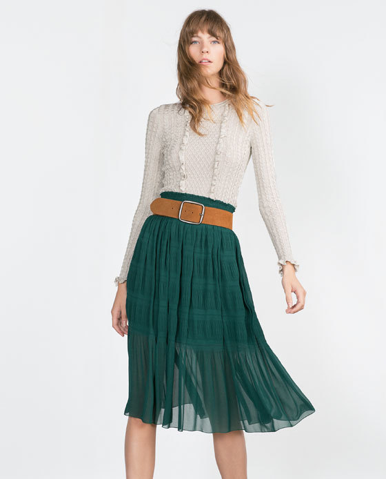 Printed Skirt. - length: below the knee; pattern: plain; fit: loose/voluminous; style: tiered; waist: high rise; waist detail: belted waist/tie at waist/drawstring; predominant colour: emerald green; occasions: casual; fibres: polyester/polyamide - 100%; hip detail: subtle/flattering hip detail; texture group: sheer fabrics/chiffon/organza etc.; pattern type: fabric; season: a/w 2015; wardrobe: highlight