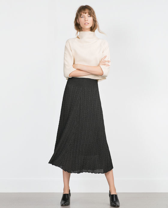 Cable Knit Skirt - length: calf length; fit: loose/voluminous; waist: high rise; pattern: cable knit; predominant colour: charcoal; occasions: casual, creative work; style: a-line; texture group: knits/crochet; pattern type: knitted - big stitch; fibres: viscose/rayon - mix; pattern size: standard (bottom); season: a/w 2015; wardrobe: highlight