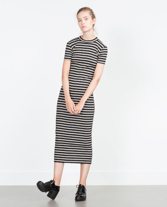 Ribbed Dress - style: shift; length: calf length; fit: tight; pattern: horizontal stripes; secondary colour: white; predominant colour: black; occasions: casual, creative work; fibres: cotton - stretch; neckline: crew; sleeve length: short sleeve; sleeve style: standard; pattern type: fabric; pattern size: light/subtle; texture group: jersey - stretchy/drapey; season: a/w 2015; wardrobe: basic