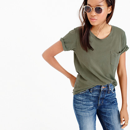 Garment Dyed Pocket T Shirt - pattern: plain; style: t-shirt; predominant colour: khaki; occasions: casual; length: standard; fibres: cotton - 100%; fit: loose; neckline: crew; sleeve length: short sleeve; sleeve style: standard; pattern type: fabric; texture group: jersey - stretchy/drapey; season: a/w 2015; wardrobe: basic