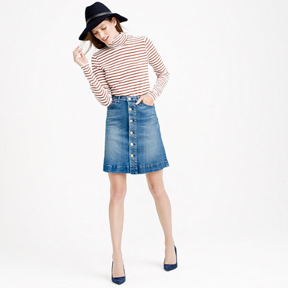 Mc Guire™ Columbier Skirt - pattern: plain; fit: loose/voluminous; waist: high rise; predominant colour: denim; occasions: casual, creative work; length: just above the knee; style: a-line; fibres: cotton - stretch; texture group: denim; pattern type: fabric; season: a/w 2015; trends: folky 70s; wardrobe: basic