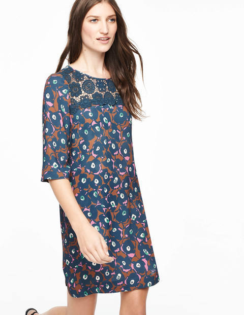 Jessa Lace Tunic Dress Multi Button Floral Women, Multi Button Floral - style: shift; neckline: round neck; predominant colour: teal; secondary colour: tan; occasions: evening, creative work; length: just above the knee; fit: soft a-line; fibres: viscose/rayon - 100%; sleeve length: half sleeve; sleeve style: standard; texture group: crepes; pattern type: fabric; pattern size: big & busy; pattern: patterned/print; multicoloured: multicoloured; season: a/w 2015