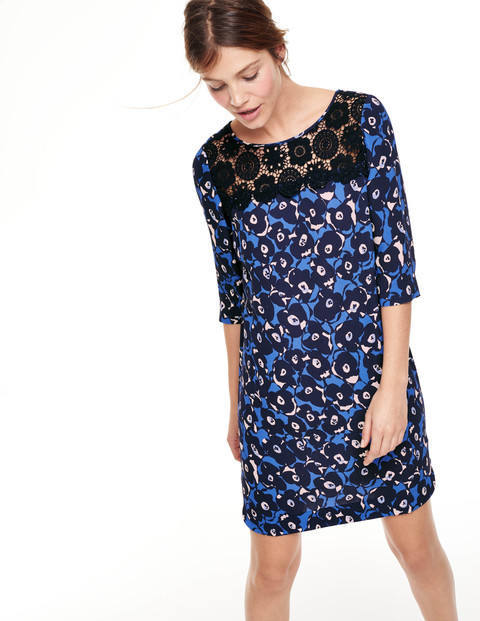 Jessa Lace Tunic Dress Blues Button Floral Women, Blues Button Floral - style: tunic; length: mid thigh; neckline: round neck; predominant colour: diva blue; secondary colour: black; occasions: evening, occasion; fit: soft a-line; sleeve length: 3/4 length; sleeve style: standard; texture group: crepes; pattern type: fabric; pattern size: big & busy; pattern: florals; embellishment: lace; season: a/w 2015