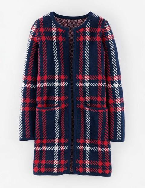 Heritage Check Coatigan Navy Oversized Check Women, Navy Oversized Check - pattern: checked/gingham; neckline: collarless open; style: open front; secondary colour: true red; predominant colour: navy; occasions: casual, creative work; fibres: wool - mix; fit: loose; length: mid thigh; sleeve length: long sleeve; sleeve style: standard; pattern type: fabric; texture group: woven light midweight; pattern size: big & busy (top); multicoloured: multicoloured; season: a/w 2015