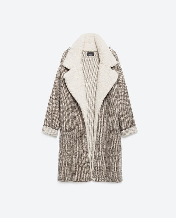 Jacket With Lapels - pattern: plain; collar: wide lapels; style: boxy; predominant colour: ivory/cream; secondary colour: taupe; occasions: casual, creative work; fit: straight cut (boxy); fibres: acrylic - mix; length: mid thigh; sleeve length: long sleeve; sleeve style: standard; collar break: low/open; pattern type: fabric; texture group: woven light midweight; season: a/w 2015; wardrobe: highlight