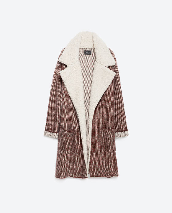 Jacket With Lapels - pattern: plain; collar: wide lapels; style: boxy; predominant colour: ivory/cream; secondary colour: chocolate brown; occasions: casual, creative work; fit: straight cut (boxy); fibres: acrylic - mix; length: mid thigh; sleeve length: long sleeve; sleeve style: standard; collar break: low/open; pattern type: fabric; texture group: woven light midweight; season: a/w 2015; wardrobe: basic