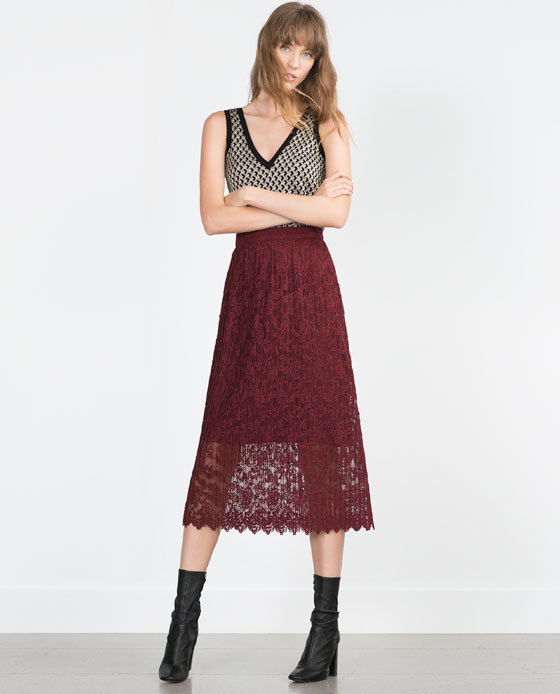 Midi Skirt - length: below the knee; style: full/prom skirt; fit: loose/voluminous; waist: high rise; predominant colour: burgundy; occasions: casual, evening, creative work; fibres: polyester/polyamide - 100%; texture group: lace; pattern type: fabric; pattern: patterned/print; pattern size: standard (bottom); season: a/w 2015; trends: romantic goth; wardrobe: highlight