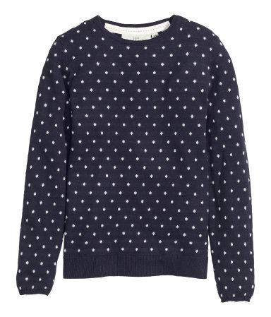 Fine Knit Jumper - pattern: polka dot; style: standard; secondary colour: white; predominant colour: navy; occasions: casual, creative work; length: standard; fibres: cotton - mix; fit: standard fit; neckline: crew; sleeve length: long sleeve; sleeve style: standard; texture group: knits/crochet; pattern type: knitted - fine stitch; pattern size: light/subtle; season: a/w 2015; wardrobe: highlight