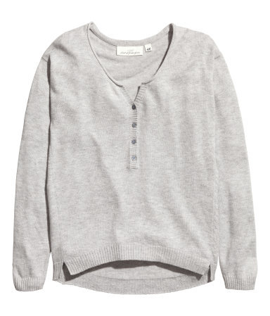 Fine Knit Jumper - neckline: round neck; pattern: plain; style: standard; predominant colour: light grey; occasions: casual, creative work; length: standard; fibres: cotton - mix; fit: standard fit; sleeve length: long sleeve; sleeve style: standard; texture group: knits/crochet; pattern type: knitted - fine stitch; season: a/w 2015; wardrobe: basic; embellishment location: bust