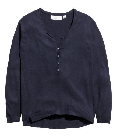 Fine Knit Jumper - neckline: round neck; pattern: plain; style: standard; bust detail: buttons at bust (in middle at breastbone)/zip detail at bust; predominant colour: navy; occasions: casual, creative work; length: standard; fibres: cotton - mix; fit: standard fit; sleeve length: long sleeve; sleeve style: standard; texture group: knits/crochet; pattern type: knitted - fine stitch; season: a/w 2015