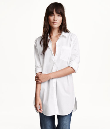Long Cotton Shirt - neckline: shirt collar/peter pan/zip with opening; pattern: plain; length: below the bottom; style: shirt; predominant colour: white; occasions: casual, creative work; fibres: cotton - 100%; fit: loose; sleeve length: 3/4 length; sleeve style: standard; texture group: cotton feel fabrics; pattern type: fabric; season: a/w 2015; wardrobe: basic