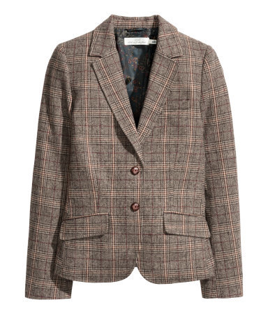 Checked Jacket In A Wool Blend - pattern: checked/gingham; style: single breasted blazer; collar: standard lapel/rever collar; predominant colour: chocolate brown; occasions: casual, work, creative work; length: standard; fit: tailored/fitted; fibres: wool - 100%; sleeve length: long sleeve; sleeve style: standard; collar break: medium; pattern type: fabric; texture group: woven light midweight; pattern size: big & busy (top); season: a/w 2015; wardrobe: highlight