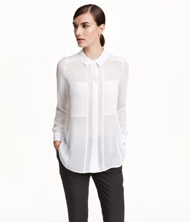 Blouse - neckline: shirt collar/peter pan/zip with opening; pattern: plain; bust detail: pocket detail at bust; style: blouse; predominant colour: white; occasions: casual, work, creative work; length: standard; fibres: silk - 100%; fit: straight cut; sleeve length: long sleeve; sleeve style: standard; texture group: silky - light; pattern type: fabric; season: a/w 2015; wardrobe: basic
