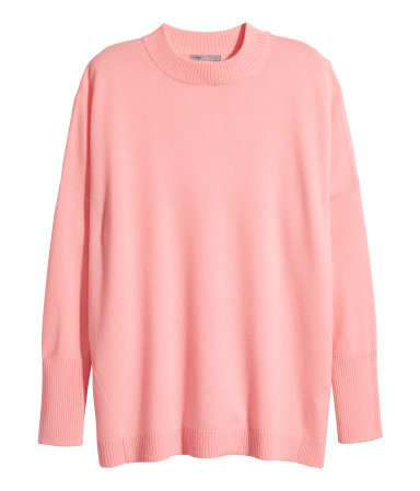 Cashmere Jumper - pattern: plain; neckline: high neck; length: below the bottom; style: standard; predominant colour: pink; occasions: casual, work, creative work; fit: loose; fibres: cashmere - 100%; sleeve length: long sleeve; sleeve style: standard; texture group: knits/crochet; pattern type: knitted - fine stitch; season: a/w 2015; trends: pink aw 15; wardrobe: highlight