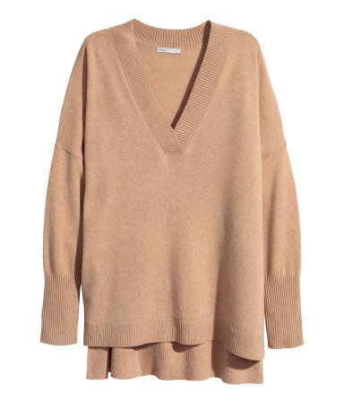 Cashmere Jumper - neckline: low v-neck; sleeve style: dolman/batwing; pattern: plain; style: standard; predominant colour: camel; occasions: casual, work, creative work; length: standard; fit: loose; sleeve length: long sleeve; texture group: knits/crochet; pattern type: knitted - fine stitch; fibres: cashmere - mix; season: a/w 2015; wardrobe: investment