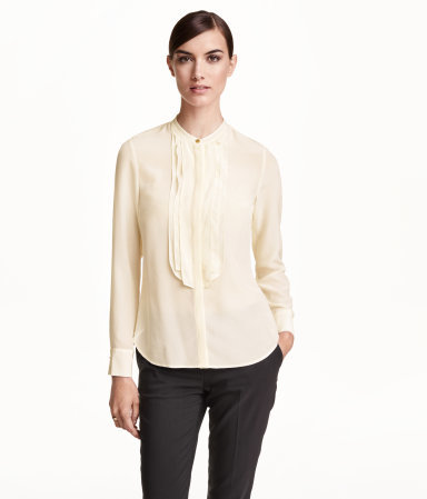 Silk Blouse - pattern: plain; style: blouse; bust detail: ruching/gathering/draping/layers/pintuck pleats at bust; predominant colour: ivory/cream; occasions: casual, work, occasion, creative work; length: standard; neckline: collarstand; fibres: silk - 100%; fit: straight cut; hip detail: dip hem; sleeve length: long sleeve; sleeve style: standard; texture group: crepes; pattern type: fabric; season: a/w 2015; wardrobe: basic