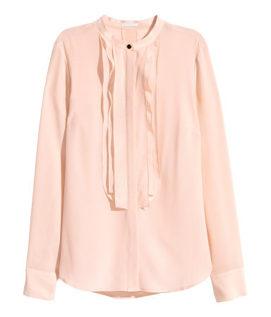 Silk Blouse - pattern: plain; style: blouse; bust detail: ruching/gathering/draping/layers/pintuck pleats at bust; predominant colour: nude; occasions: casual, work, occasion, creative work; length: standard; neckline: collarstand; fibres: silk - 100%; fit: straight cut; sleeve length: long sleeve; sleeve style: standard; texture group: silky - light; pattern type: fabric; season: a/w 2015