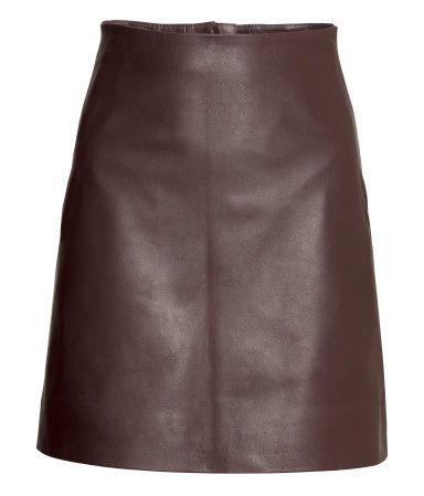 Leather Skirt - length: mid thigh; pattern: plain; fit: tailored/fitted; waist: high rise; predominant colour: chocolate brown; occasions: casual, evening, creative work; style: a-line; fibres: leather - 100%; texture group: leather; pattern type: fabric; season: a/w 2015; wardrobe: highlight