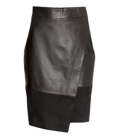 Leather Wrap Skirt - pattern: plain; style: wrap/faux wrap; fit: tailored/fitted; waist: high rise; predominant colour: black; occasions: casual, evening, creative work; length: on the knee; fibres: leather - 100%; waist detail: feature waist detail; texture group: leather; pattern type: fabric; season: a/w 2015; wardrobe: highlight