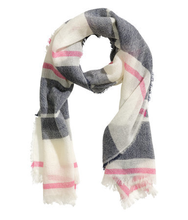 Wool Scarf - secondary colour: pink; predominant colour: charcoal; occasions: casual, creative work; type of pattern: light; style: regular; size: standard; material: knits; pattern: checked/gingham; season: a/w 2015; wardrobe: highlight