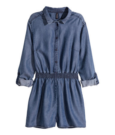 Lyocell Playsuit - neckline: shirt collar/peter pan/zip with opening; fit: fitted at waist; pattern: plain; waist detail: elasticated waist; length: short shorts; predominant colour: denim; occasions: casual, creative work; fibres: cotton - stretch; sleeve length: 3/4 length; sleeve style: standard; texture group: denim; style: jumpsuit; pattern type: fabric; season: a/w 2015; wardrobe: highlight